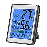 CHOELF Thermometer Hygrometer Digitales Innen mit Wecker, Luftüberwachung Temperatur und luftfeuchtigkeit mit Hintergrundbeleuchtung, Uhrzeit und Datum für Schlafzimmer Büro Wohnzimmer, usw
