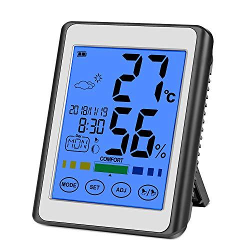 CHOELF Termometro Igrometro Digitale, Termometro Ambiente interno per monitorare Temperatura e Umidità dell\'ambiente con Retroilluminazione, Data e Orario, Grande Schermo di Tocco