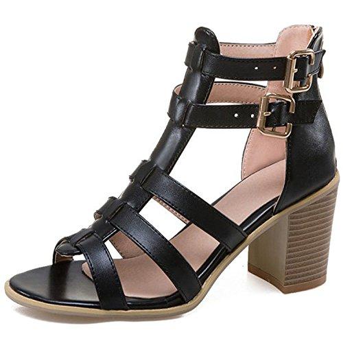 Römische Schuhe Der Frauen öffnen Toe Block High Heels Hof Schuhe Ankle Straps Hochzeit Prom Party Brautschuhe,Black-EU34=220 Ankle Strap Dorsay Pump