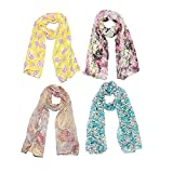 Clapcart Women's Designer Printed Scarf and Stoles Chiffon Set of 4 Multicolored for Girls / Ladies / Women - Clapcart-S019