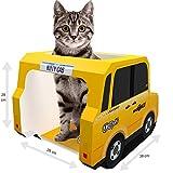 Cat Toys und Pappe Katzen House von Kitty Cab–GRATIS Kratzbaum Pad, Maus & Feder Pet, Bonus Ebook–Ideal für ein Häschen, Kätzchen, Kaninchen, Meerschweinchen, Frettchen, Ratten, Hamster–NYC Taxi
