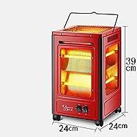 Little Sun Calentador de Cinco Lados, Estufa Al Horno Tipo Barbacoa, Ventilador Eléctrico de Cuatro Lados para Ahorrar Energía, Calentador Eléctrico de Fuego a la Parrilla,Rojo,Grande