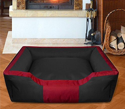 BedDog Hundebett BRUNO / großes Hundekörbchen aus Cordura / waschbares Hundebett vier-eckig mit Rand / Hundesofa für drinnen und draußen / XXL / RUBY-BLACK / schwarz-rot