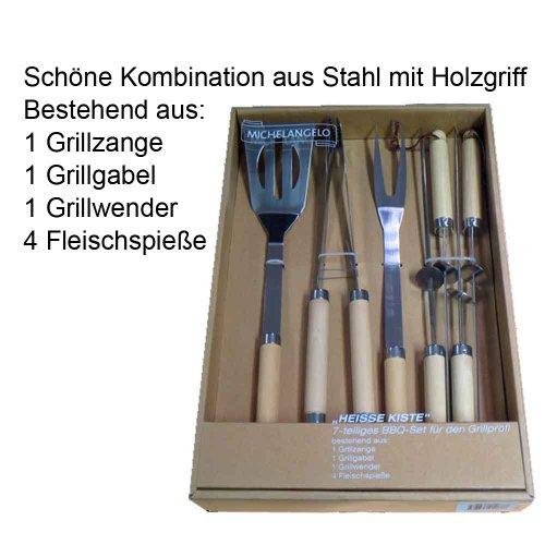 """Michelangelo Grillbesteck """"Heiss Kiste"""" 7-teiliges BBQ-Set für den Grillprofi 1 Grillzange 1 Grillgabel 1 Grillwender 4 Fleischspieße"""