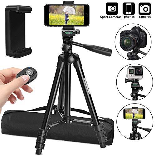 PEYOU Stativ für Smartphone, Handy Stativ 106cm, 3 in 1 Kamera Stativ Leichtes Reisestativ mit Bluetooth Fernbedienung, Stativ Kompatibel für iPhone X XS XR 8 7 6s, Handy mit 4-6 Zoll und Kamera