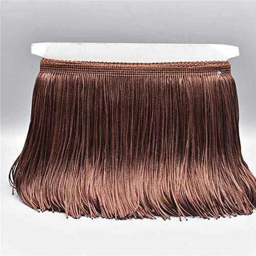 EVEYYLS 10 Meter Gold Farbe Lace Fringe Trim Quaste Fringe Trimmen Latin Kleid Bühne Kleidung Zubehör Lace Ribbon, Brown -