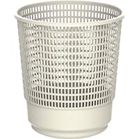 Cosmoplast Plastic Round Trash Waste Bin Paper Basket Small, Off White, 9 Liters, IFHHBK041OW