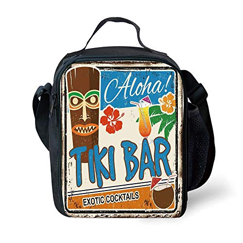 s Tiki Bar Decor,Rusty Vintage Sign Aloha Exotic Cocktails Coconut Drink Antique Nostalgic,Multicolor for Girls or Boys Washable ()