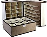 #8: Sterling Lingerie Storage Case (Bra and Panty, Pack of 3) Drawer Organizer Storage Box Drawer Dividers Innerwear Organizer Wardrobe Organizer for Innerwear, Clothing, Shoes, Underwear, Bra, Socks, Tie, etc (WITH LID COVER)