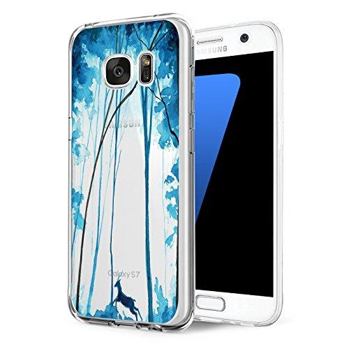 Samsung Galaxy S6 / S6 Edge / S6 Edge Plus Hülle transparent Silikon Ultra dünn Cooler grüne Blätter Wolf Schutzhülle Pacyer ® Rückschale Handyhülle TPU Case Backcover (7, S6 Edge Plus) Sieben Blätter