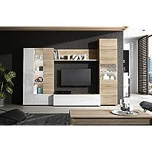 habitdesign f mueble de comedor con leds acabado en blanco brillo y roble canadian