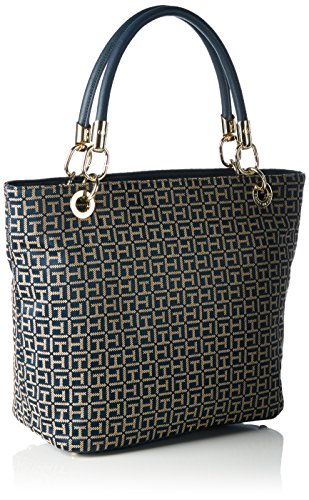 Tommy Hilfiger Th Essential Th Signature Tote Jac., Sacs portés main Multicolore - Mehrfarbig (Midnight / Oatmeal 902 902)