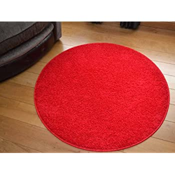 Attractive Cargo Circular Red Shaggy Pile Rug. Available In 5 Sizes (133cm Diameter ( Circle))