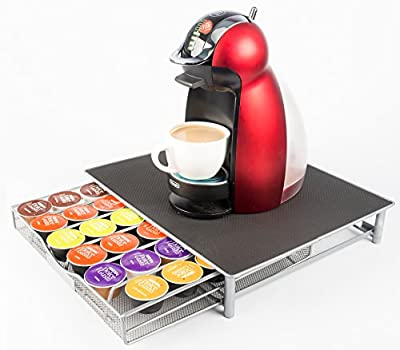 36 Dolce Gusto Coffee Pod Capsule T-Disc Holder - Stainless Steel Mesh Sliding Drawer Tray Holder Dispenser Organiser - Stores Upto 36 Coffee Pods - Doubles as a Coffee Machine Stand - Anti Vibration Non Slip Surface - Allows Ease of Selection - Great for