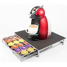Cajón soporte para guardar cápsulas de café Dolce Gusto, capacidad para 36 cápsulas, de malla de acero inoxidable, bandeja deslizante, ...