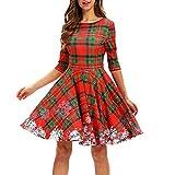 Riou Weihnachtskleid Ballkleider mit Hohem Damen Weihnachten Partykleider Elegant Retro Falten Knielang A Linie Cocktailkleid Abendkleid Mini Kleider (S, Rot)