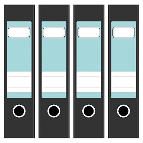 4 x farbige Akten-Ordner Etiketten / Aufkleber / Rücken Sticker / Farbe Türkis / für breite Ordner / selbstklebend / 6cm breit