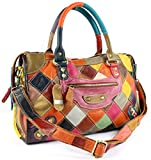 S-Kiven Multicolour Patchwork Real Leather Bag Handbag Shoulder Bag Cross Body Bag Hobo bag