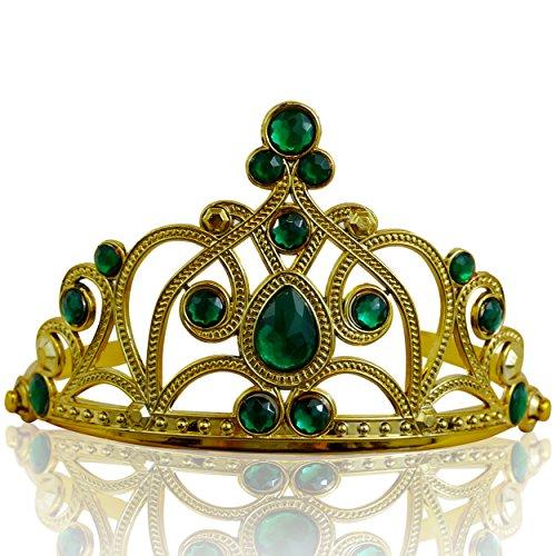 (Katara 1682 - Prinzessin Diadem Krone, Verkleidung Kostüm, Fasching Karneval, Haarspange, Gold/Dunkelgrün)