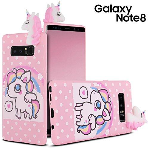 Samsung Galaxy Note 8Fall, Galaxy Note 8, Note 8Hülle, celljoy [3D Einhorn Armor] Soft Silikon Gummi Rainbow ~ Weiß 3D Einhorn ~ Polka Dot Design/Star Design-Slim Cover, Gepunktet (Virgin Galaxy Note Mobile Samsung)