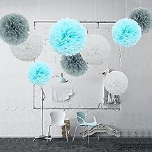 feelshion 9para Fiesta de cumpleaños pompones de papel de seda Baby 192201Baby Party Comunión como decoración blanco gris azul claro (Ø 35cm & 25cm de diámetro)