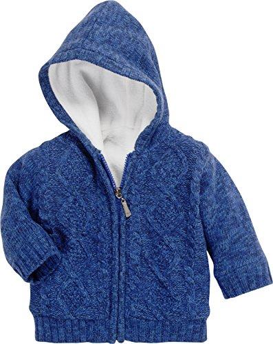 Schnizler Unisex Baby Jacke mit Zopfmuster, Fleece gefüttert Strickjacke, Blau (Marine 11), 62 -