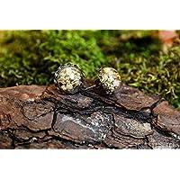 Pendientes de gypsophila - boho vintage botánico semiesfera de vidrio con flores secas naturales - 15mm - Regalos originales para mujer - Dama de honor - Boda- Aniversario - Regalo reyes