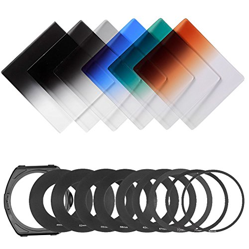 Neewer® Stufenweise Neutral Density Filterset umfasst Set: (3) abgeschufte Grau ND Filter Set (ND2, ND4, ND8) + (3) abgeschufte Farbfilter -Set (grün, orange, blau) + (9) Metall-Adapterringe (49mm, 52mm, 55mm, 58mm, 62mm, 67mm, 72mm, 77mm, 82mm) + (1) Quadratisch Filterhalter + (1) Filter Tragetasche