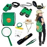 Born Toys Kids Adventure Kit und Outdoor Explorer Set, mit Hinterhof-Safari-Hut für Outdoor-Natur, Bug Catcher-Kit, Kinder-Camping, Wandern, Ankleiden und Rollenspiele für Kinder, Fernglas