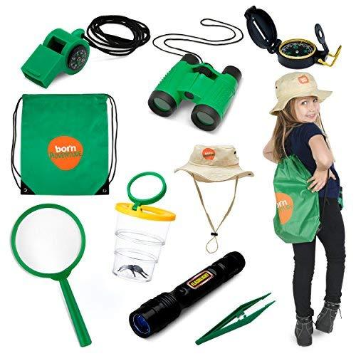 Kostüm Catcher Kind - Born Toys Kids Adventure Kit und Outdoor Explorer Set, mit Hinterhof-Safari-Hut für Outdoor-Natur, Bug Catcher-Kit, Kinder-Camping, Wandern, Ankleiden und Rollenspiele für Kinder, Fernglas