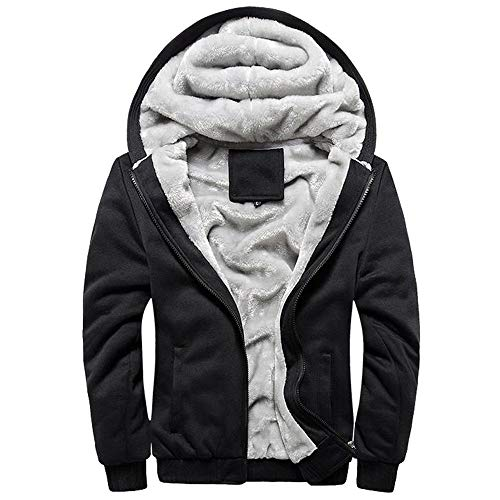 JYJM 2018 Windbreaker Männer Hoodie Winter Warme Fleece Reißverschluss Pullover Jacke Outwear Mantel Tops Blusen Herren Lange Mantel Trenchcoat Übergangsjacke Faux Wollmantel Parka Coat Outwear