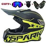 Motocross Motorradhelm für Erwachsene und Cross Country MX-Offroad-Motorrad für Erwachsene (Handschuhe, Brille, Maske, 4er-Set),Green,XL