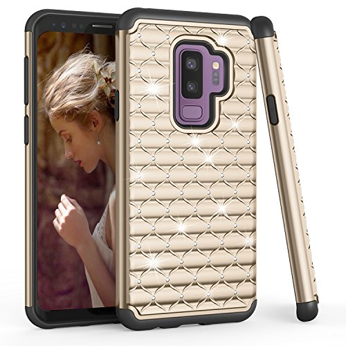 Crystal Bling Case (Samsung Galaxy S9+ Hülle, S9 Plus Handy Hülle, HanLuckyStars [Crystal Bling] Glitzer Handyhülle Stoßfest Hybrid Bumper Hardcase Robuste Case Cover Schutzhülle für Samsung S9+ (6,2 Zoll) - Gold)