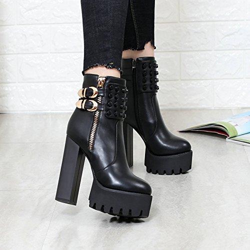 KHSKX-Les Femmes Noires Est Peu Élevé Des Bottes Chaussures Martin Fashionista Rivet Côté Zipper Et Bottes Imperméables Bottes Thirty-six
