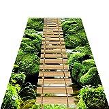 YANGJUN 3D Läufer Teppiche Flur Weich Dauerhaft Rutschfest Nicht Verblassen Pflegeleicht Haushalt Hotel Holzbrücke Wald Schneidbar Anpassbare (Farbe : A, größe : 0.6x3m)