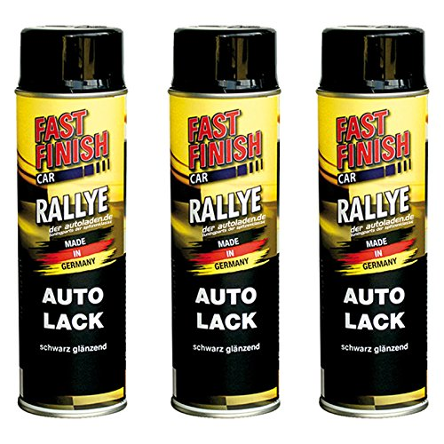 Motip Dupli - Fast Finish Autolack Rallye Spraydose 500ml schwarz glänzend 3 Stück -