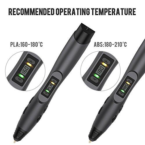 3D Stift, Aerb 3D Pen Stift mit 1,75mm PLA/ABS Filament, 8 Einstellbare Geschwindigkeit mit LCD-Bildschirm 3D Printing Pen für Kinder Erwachsene, Bestes Geschenk für DIY, Kritzelei, Zeichnung und Kunst & Handgefertigte Werke - 3