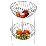 Fruit Rack by Gehwara-(fruit holder/fruit and vegetable rack/fruit baskets) Make your home orgazanised in better way-Make of Pure Stainless Steel-2 Tier Round Shelf-12 inch X 12 inch X 19 inch