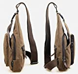 CuteMe® Mens Small Canvas Military Messenger Shoulder Travel Hiking Bag Backpack (BROWN)