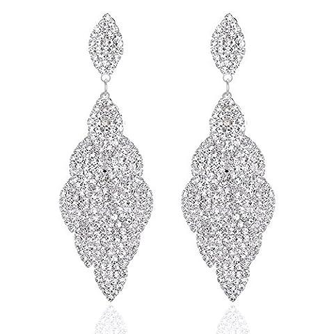 Leaf Laminated Wedding Dangle Earrings for Women or Bridesmaids Bling Earring, Earrings for Girl or Bride