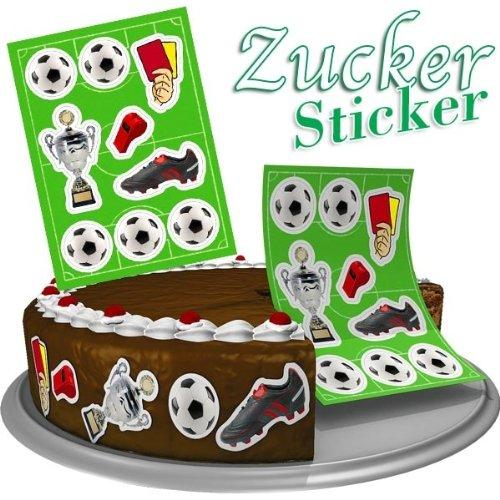 Preisvergleich Produktbild Fussball Zuckersticker, 9er Pack, essbar, aus Zuckerguss, Tortendeko, 2,5cm - 6cm