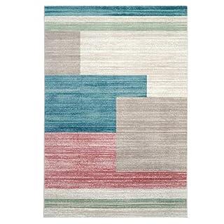 Teppich Modern Designer Wohnzimmer Inspiration Style Vintage  Rechteck Muster Pastel Pink Beige Größe 120