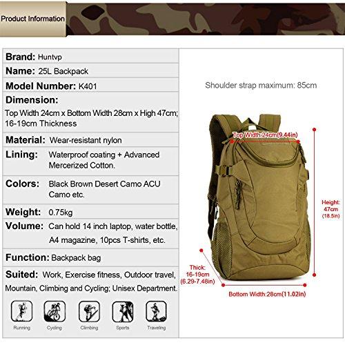 Huntvp Tactischer Militarischer MOLLE Rucksack Student Daypack Erwachsene Schulrucksäcke Wasserdicht Multifunktional Trekkingrucksack für Outdoor Sports 25L Braun