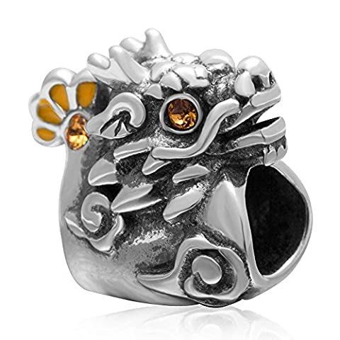 Soulbead Chinese Mascot Dragon Charm Antique 925 Sterling Silver with Topaz Crystal Bead for European Major Brand Bracelet
