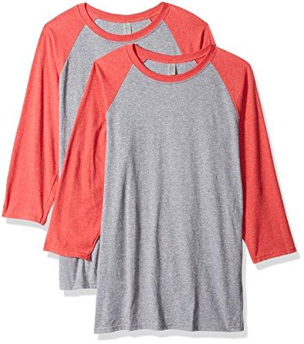 Jerzees Herren TRI-Blend Baseball Raglan T-Shirt, Oxford/Fiery Red Heather, XX-Large -