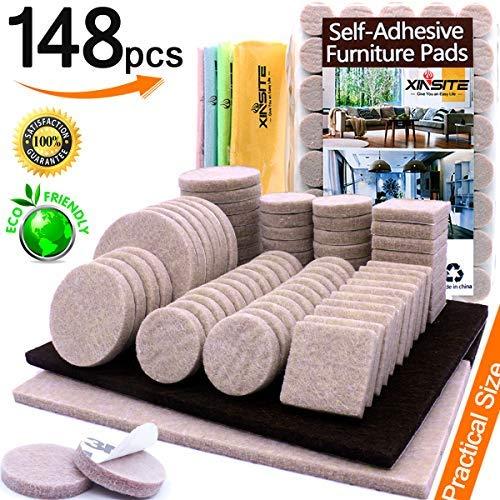 Filzmöbel-Pads, 148 Stück, selbstklebende Möbel-Pads, strapazierfähig, kratzfest, Möbel, Filzgleiter für Stuhlbeine, Füße zum Schutz von Hartholz, Laminat, Fliesen, Böden, verschiedene Größen -