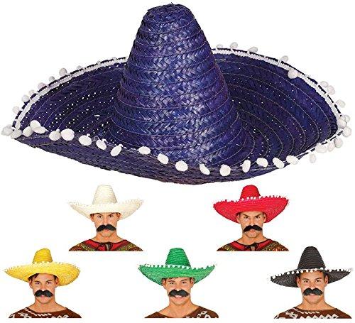 Guirca riesiger Stroh Sombrero für Erwachsene Mexiko Hut Farben groß grün ca. 51 cm