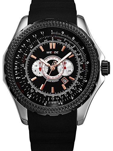 Alienwork Quarz Armbanduhr XXL Oversized Uhr Herren Uhren Multi-funktion Polyurethan schwarz OS.WH-3303-G