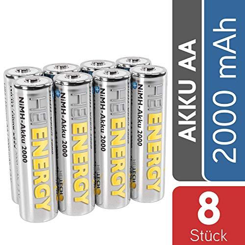 HEITECH AA Akku Mignon 2000 mAh 1,2V NiMH TÜV geprüft 8 Stück - Wiederaufladbare Batterien mit geringer Selbstentladung - Akkus für Geräte mit hohem Stromverbrauch