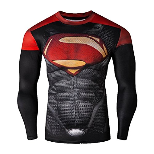Aus Superman Kostüm Fan - Born2Ride Superhelden-Kostüm/Fitnessstudio/Radfahren T-Shirt, Tops (XL, Superman), Rot/Schwarz